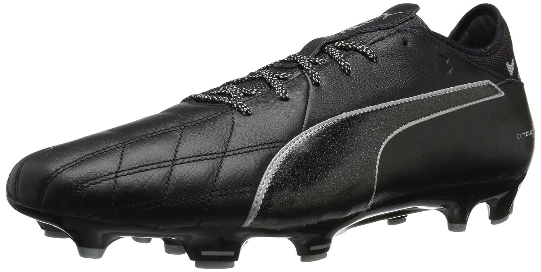 PUMA Men's Evotouch 3 Lth FG Soccer Schuhe, schwarz schwarz Silver, 5.5 M US