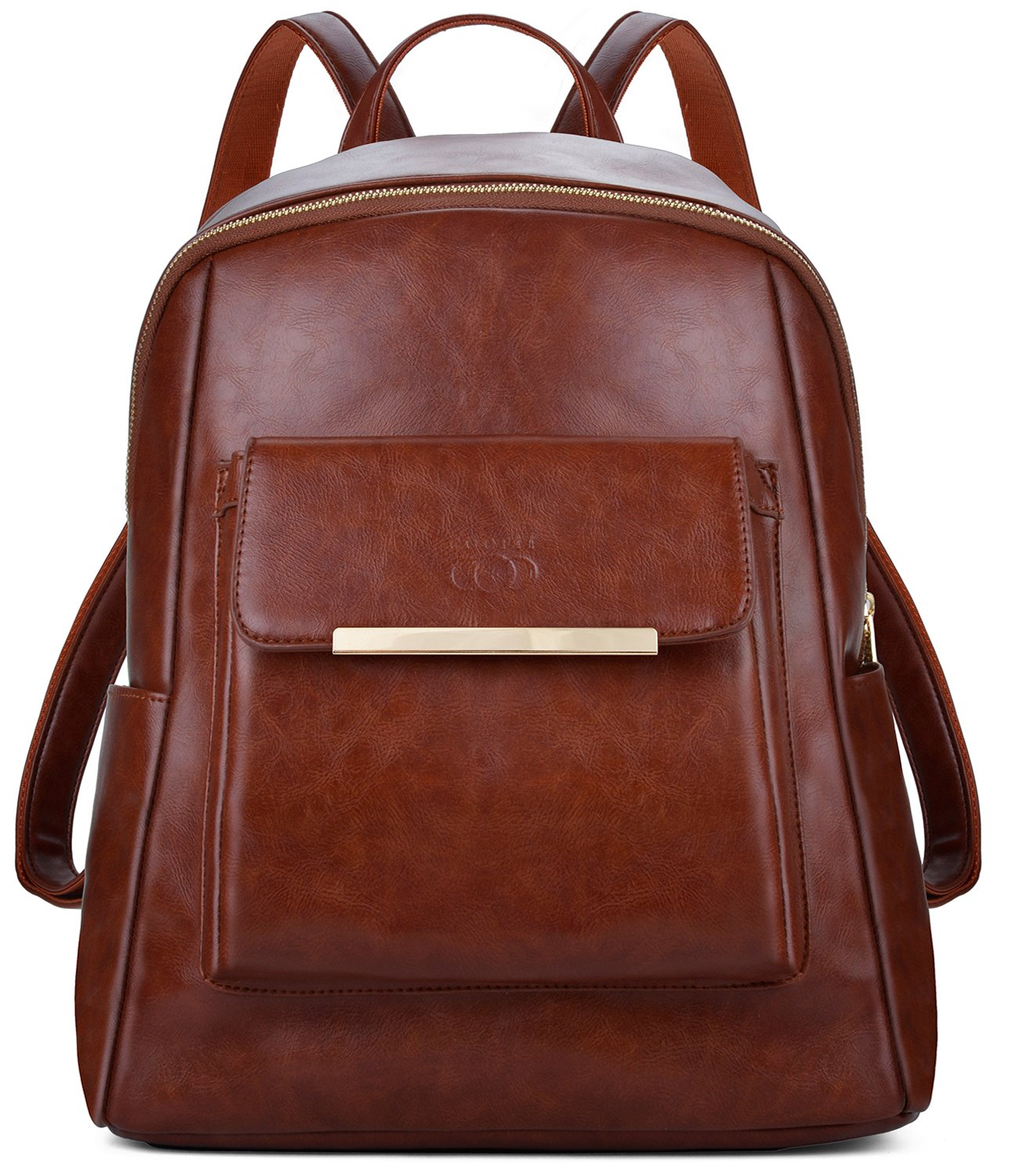 COOFIT Leather Backpack for Girls, Waterproof Fashion Backpack, Casual Daypack (Brown)