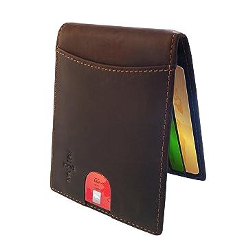 22d0a682a76cb FreeHaveFun® Herren Leder RFID Schutz Geldklammer Kreditkartenetui schmal