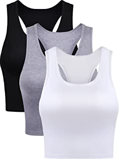 7c20f5013 Boao 3 Pieces Cotton Basic Sleeveless Racerback Crop Tank Top Women's  Sports Crop Top for Lady