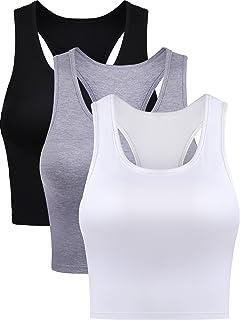 9e737410a2cb8 Boao 3 Pieces Cotton Basic Sleeveless Racerback Crop Tank Top Women s  Sports Crop Top for Lady