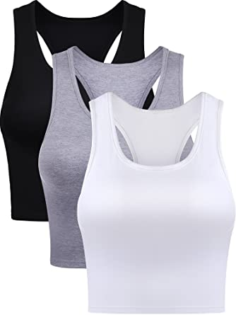 a6746b9023cbd Boao 3 Pieces Cotton Basic Sleeveless Racerback Crop Tank Top Women s  Sports Crop Top for Lady