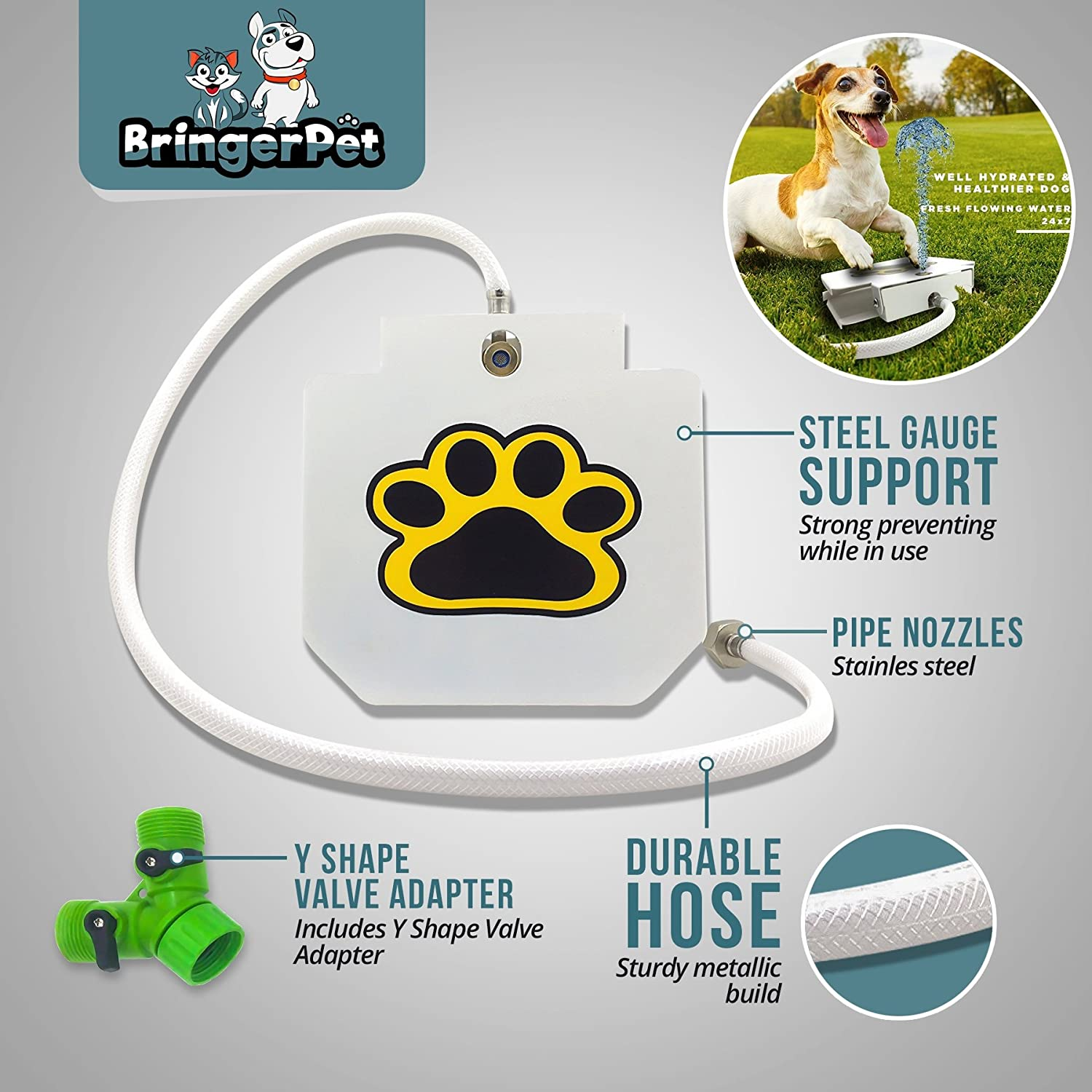 Upgraded 2019 Easy Paw Activated Dog Steps Eco-Friendly Pet Water Fountain with New Durable Leak-Proof Dog Bowl Hose Fresh Water Funny Dog Toys Keep Pets Cool Dog Water Dispenser Pet Fountain