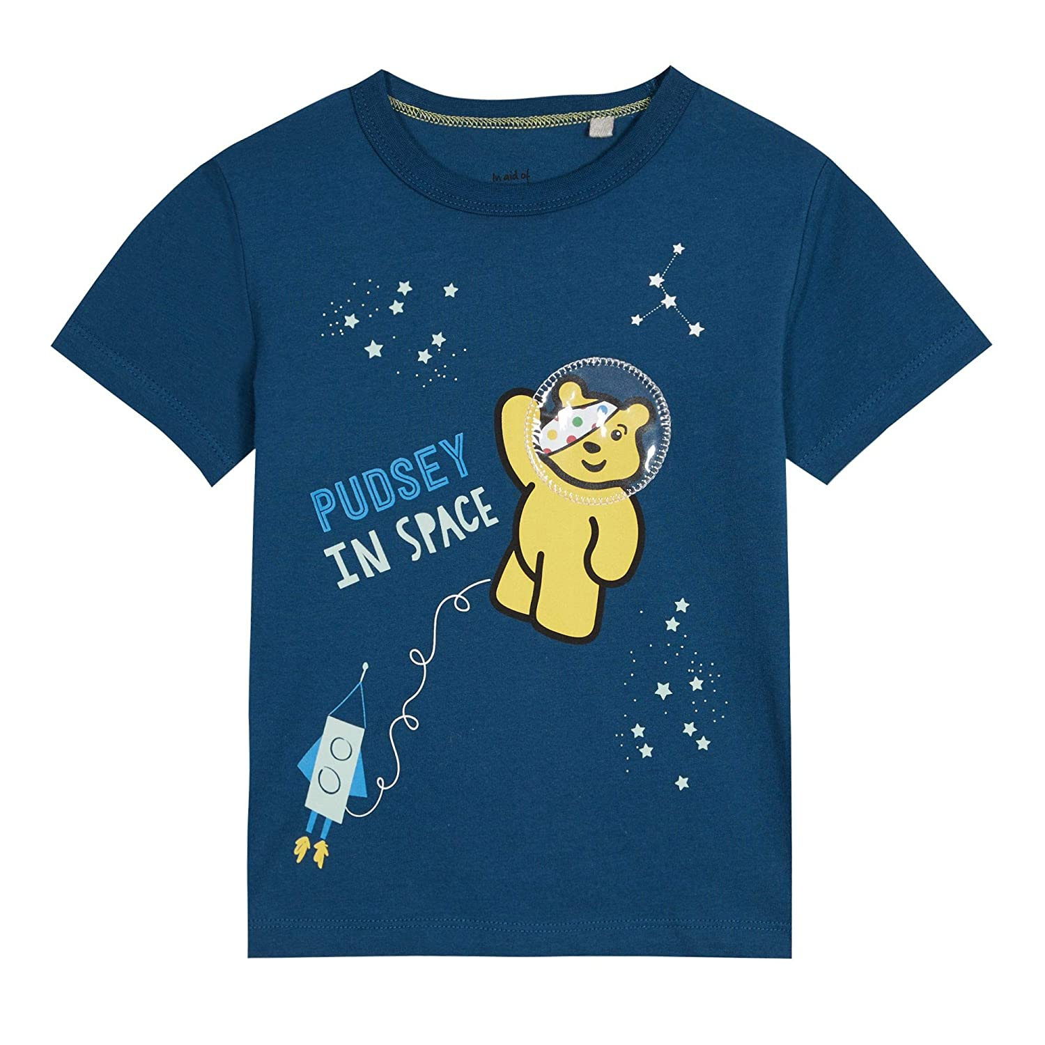 BBC Children In Need Kids Boys' Blue Cotton 'Pudsey' in Space Print T-Shirt