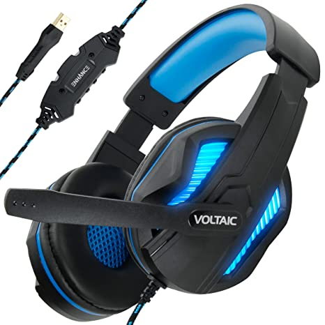ENHANCE PC Gaming Headset for PS4 & Computer with 7 1 Surround Sound -  Voltaic PRO Esports Computer Headphones with Microphone, LED Light, in-Line