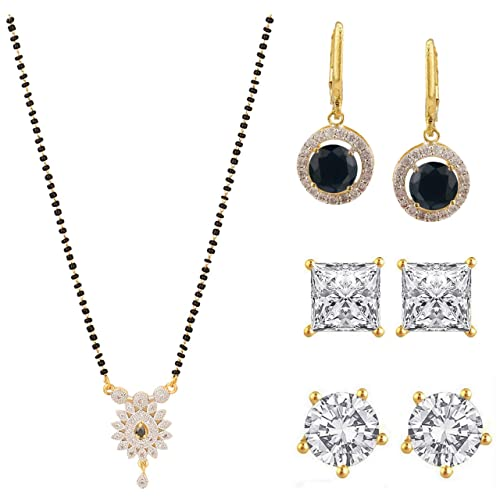 447b137189 Image Unavailable. Image not available for. Color: Efulgenz Fashion Jewelry  Set of Indian 14 K Gold Plated CZ ...