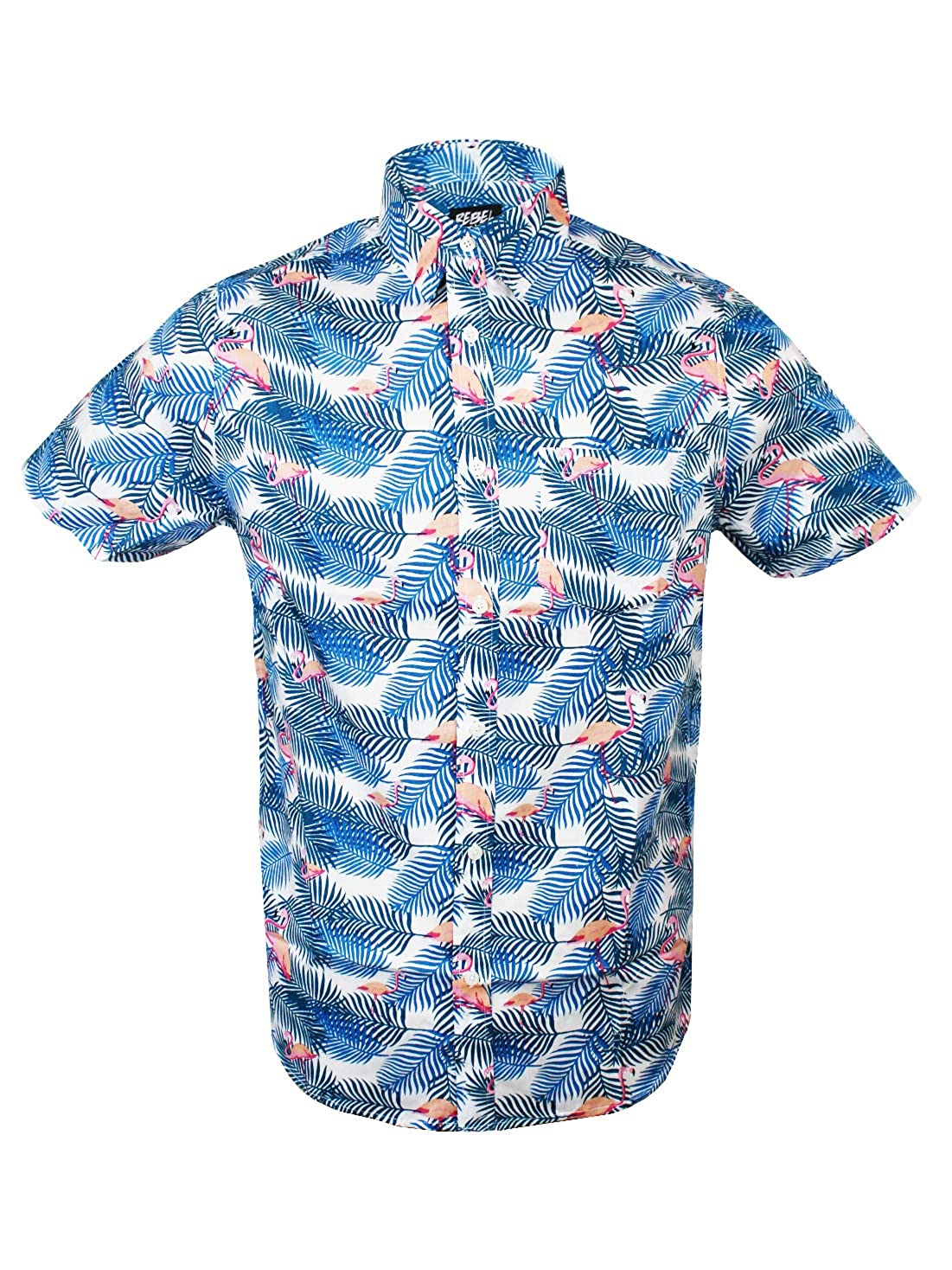 Rebel Star Mens Slim Fit Short Sleeve Casual Shirt Hawaiian Aloha Beach Summer Flamingo Print
