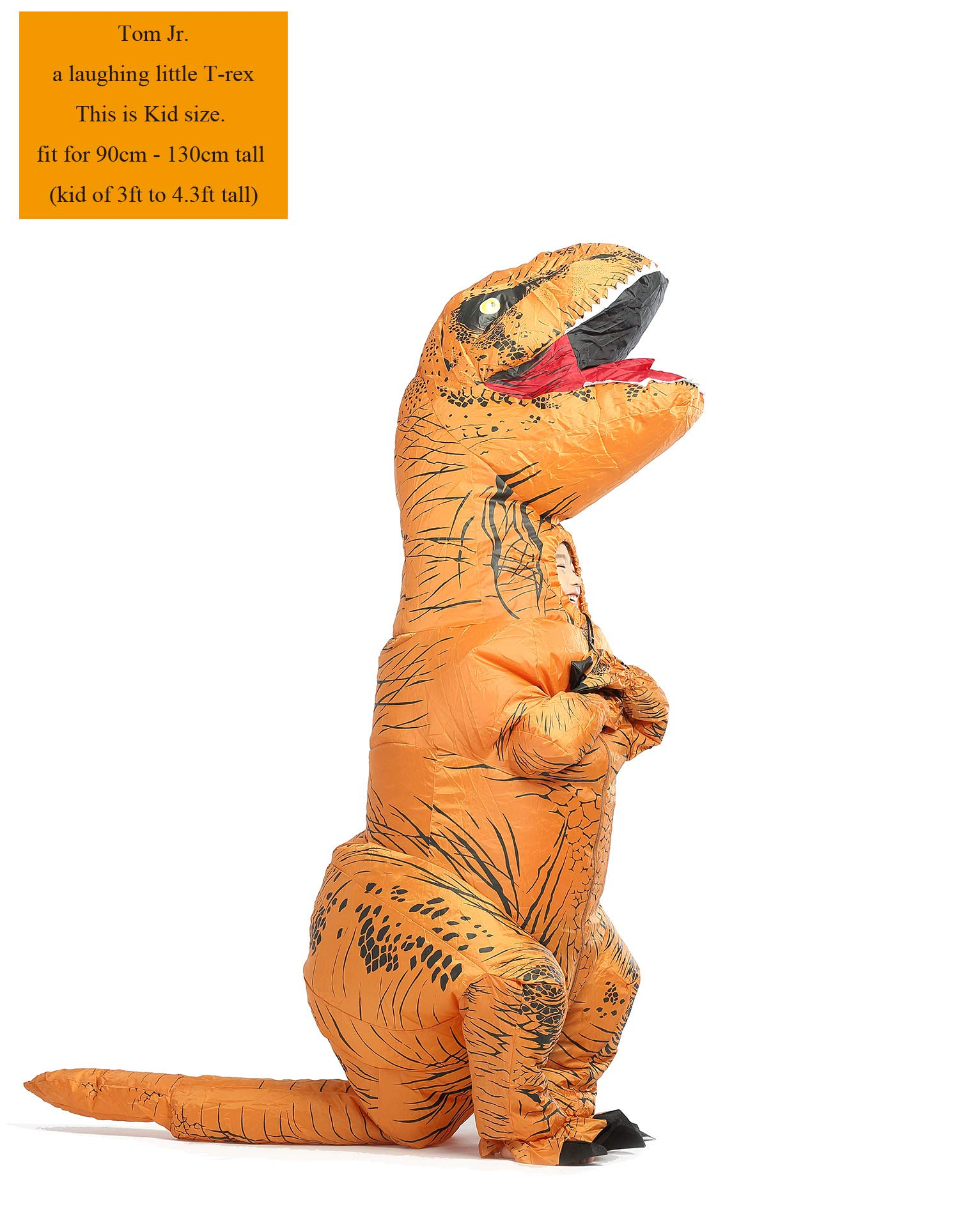 GOPRIME T Rex Costume, Dino Theme Party Dress, Dinosaur Costume (Brown Kid)