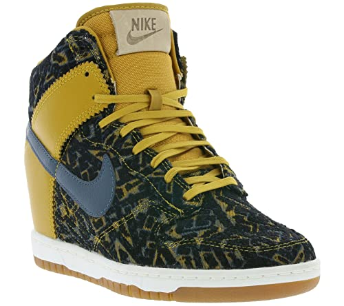 huge selection of 16227 56542 Nike Women s Dunk Sky High Premium Gold Suede Dark Armory Blue 585560-700  (9.5