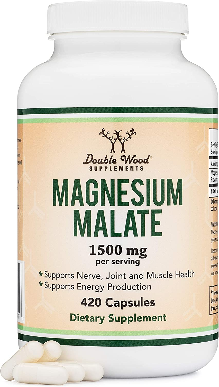 Magnesium Malate Capsules (420 Count) - 1,500mg Per Serving (Magnesium bonded to Malic Acid), Third Party Tested, Vegan Friendly, Non-GMO, Gluten Free, Made in the USA by Double Wood Supplements