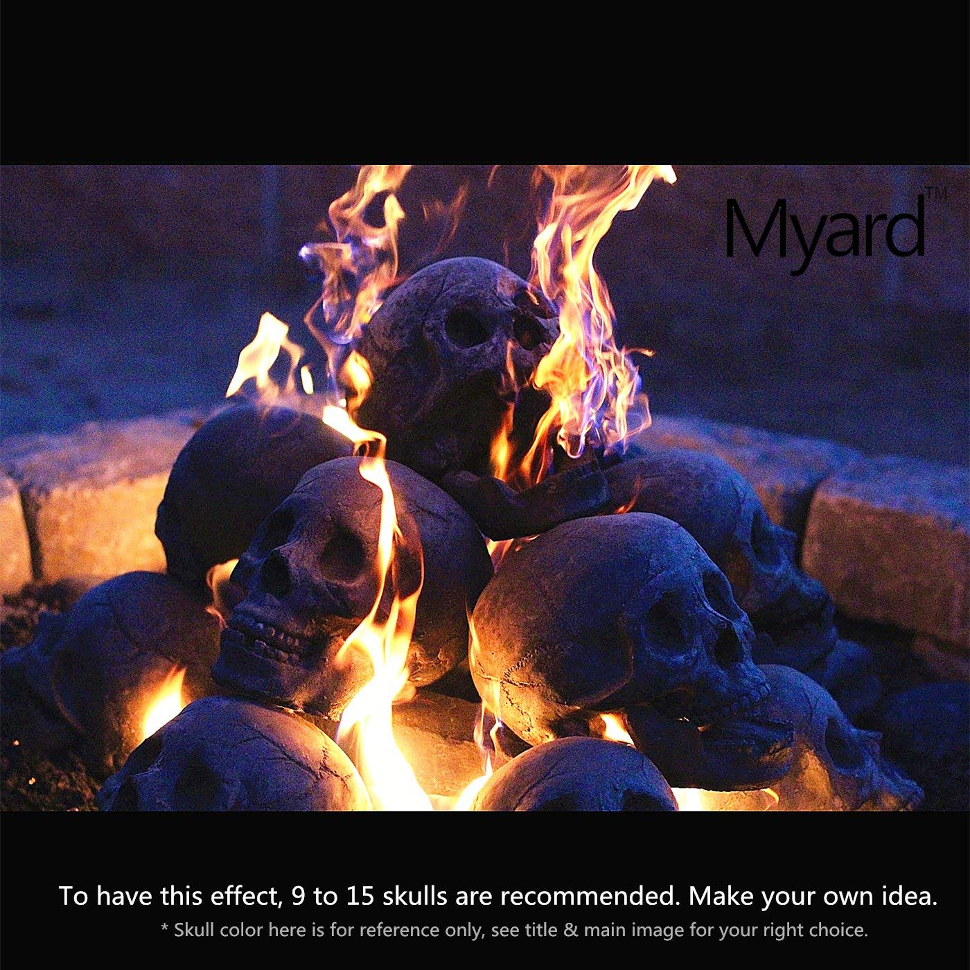 Myard Fireproof Imitated Human Fire Pit Skull Gas Log For