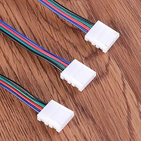 OSALADI 1 Juego RGB LED Light Strip Connector 4 Pin LED Strip Jumper 10mm Tira al Adaptador de Corriente Tira al Controlador Sin Soldadura