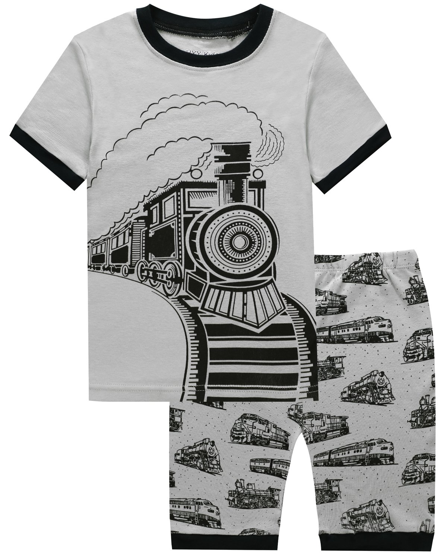 HYY Kids Boy Pajama Short Sets 100% Cotton Summer Sleepwear Dinosaur size2T-12years (Train-3T)