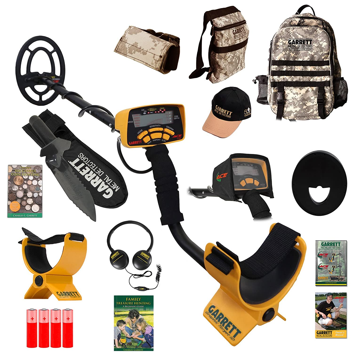 Amazon.com : Garrett Ace 250 Adventure Pk with Coin Hunter Book, Edge Digger Camo Daypack and More : Everything Else