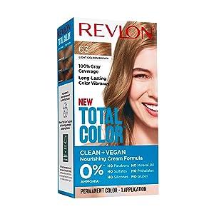 Revlon Total Color Permanent Hair Color, Clean and Vegan, 100% Gray Coverage Hair Dye, 63 Light Golden Brown, 3.5 oz