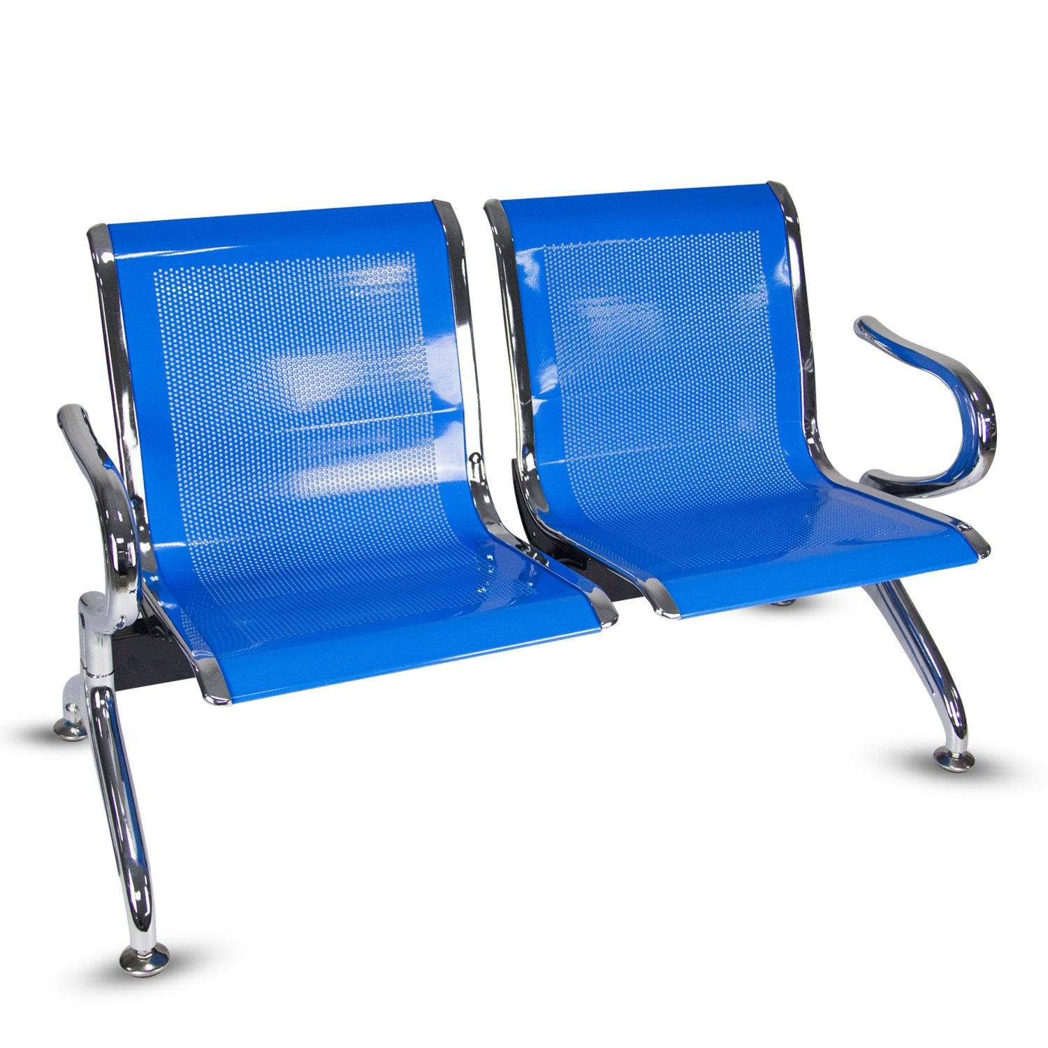 Kinbor 2- Seat Guest Chair Airport Reception Waiting Chair Room Garden Salon Barber Bench,Blue
