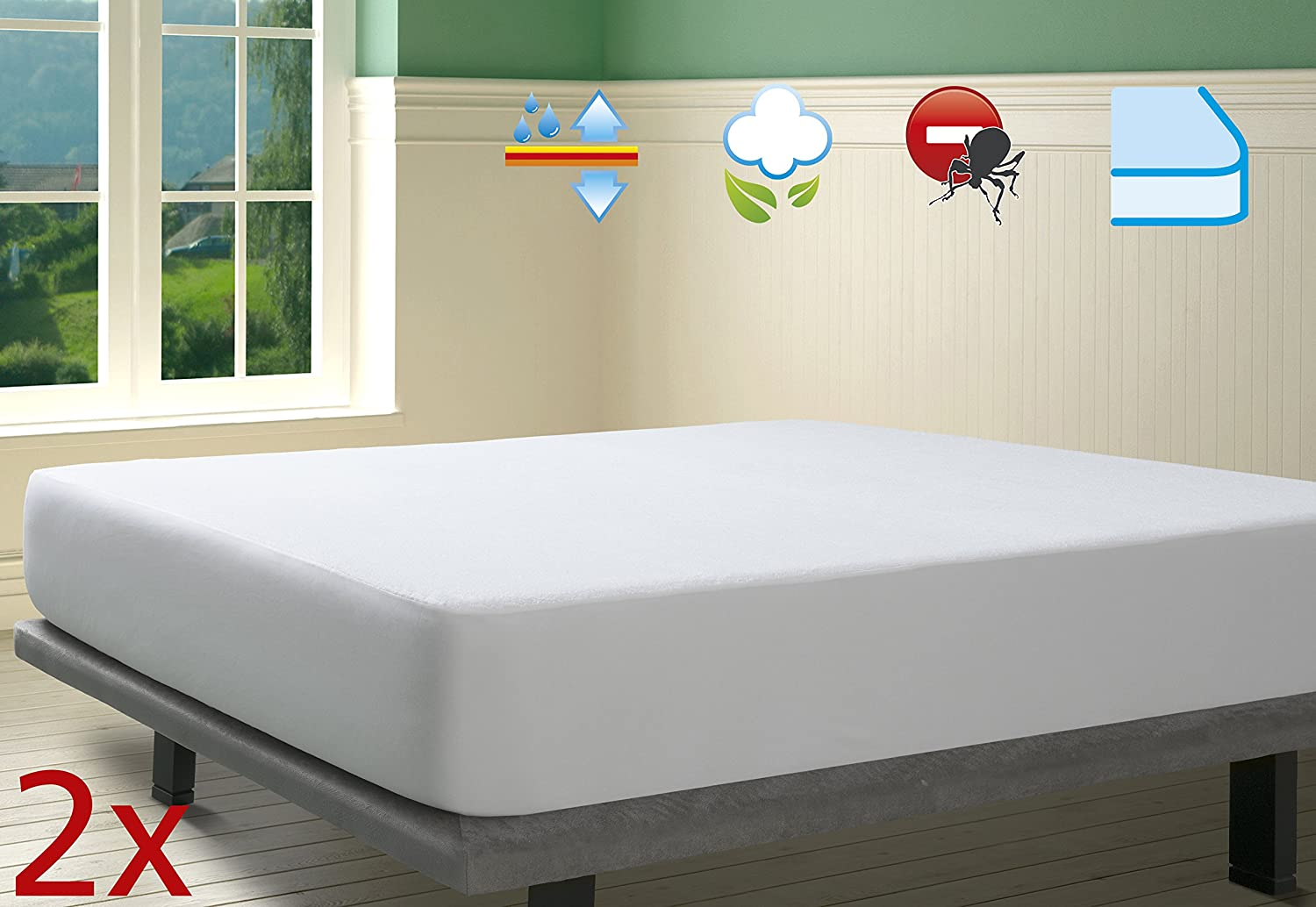 Clevamama Waterproof Fitted Brushed Cotton Mattress Protector Single Bed 90x190 cm