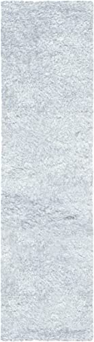 Superior Textured Shag Runner Rug, White, 2 3 x 11