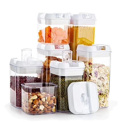 Buy Kitchenace 7 Piece Airtight Food Storage Containers Plastic