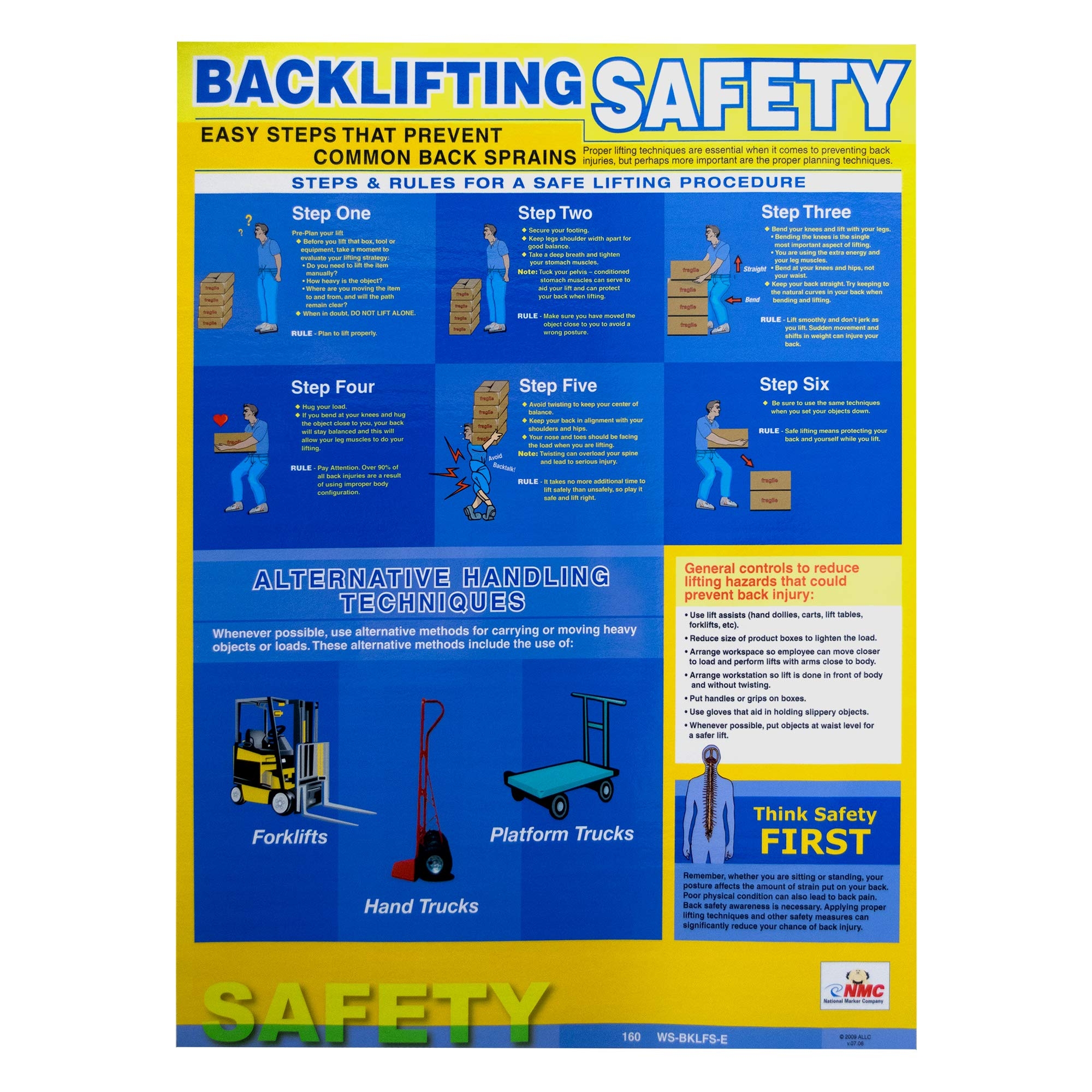 """National Marker PST001 NMC Safety Training Poster, Back Lifting Safety, 24"""" Height x 18"""" Width, NULL by National Marker"""