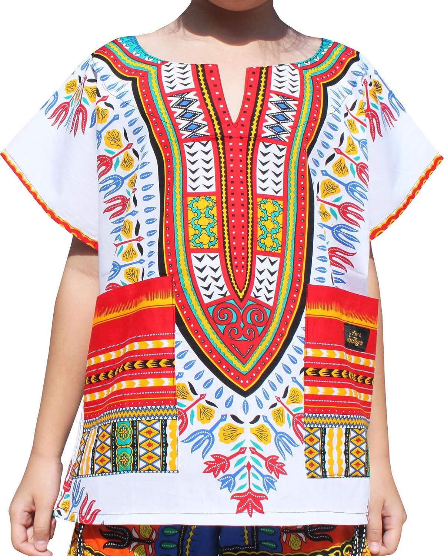 Raan Pah Muang RaanPahMuang Childrens African Dashiki Short Sleeve Shirt in White Tones variant31260AMZ