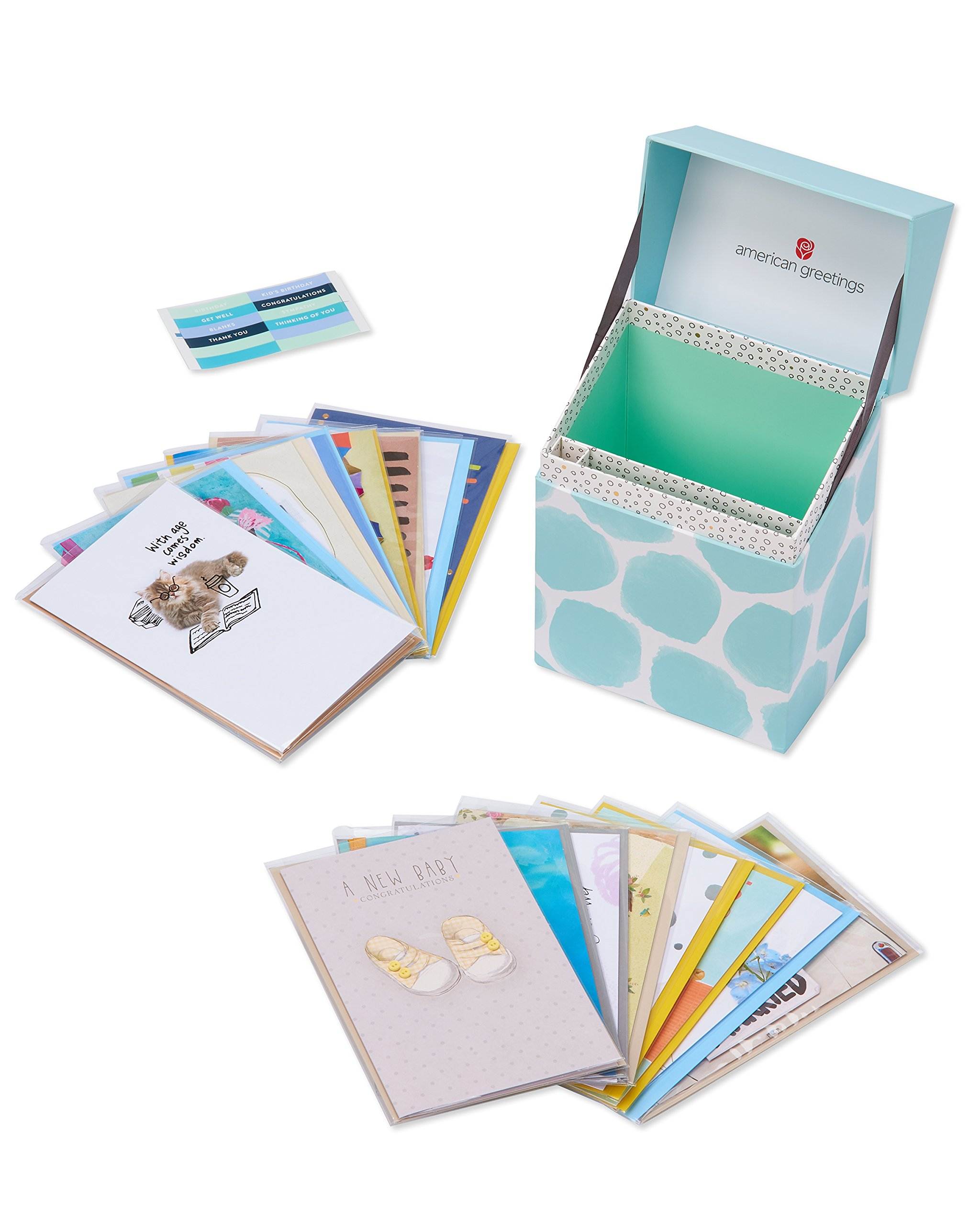 American Greetings Starter Kit Greeting Card Collection With Organizer, 16-Count