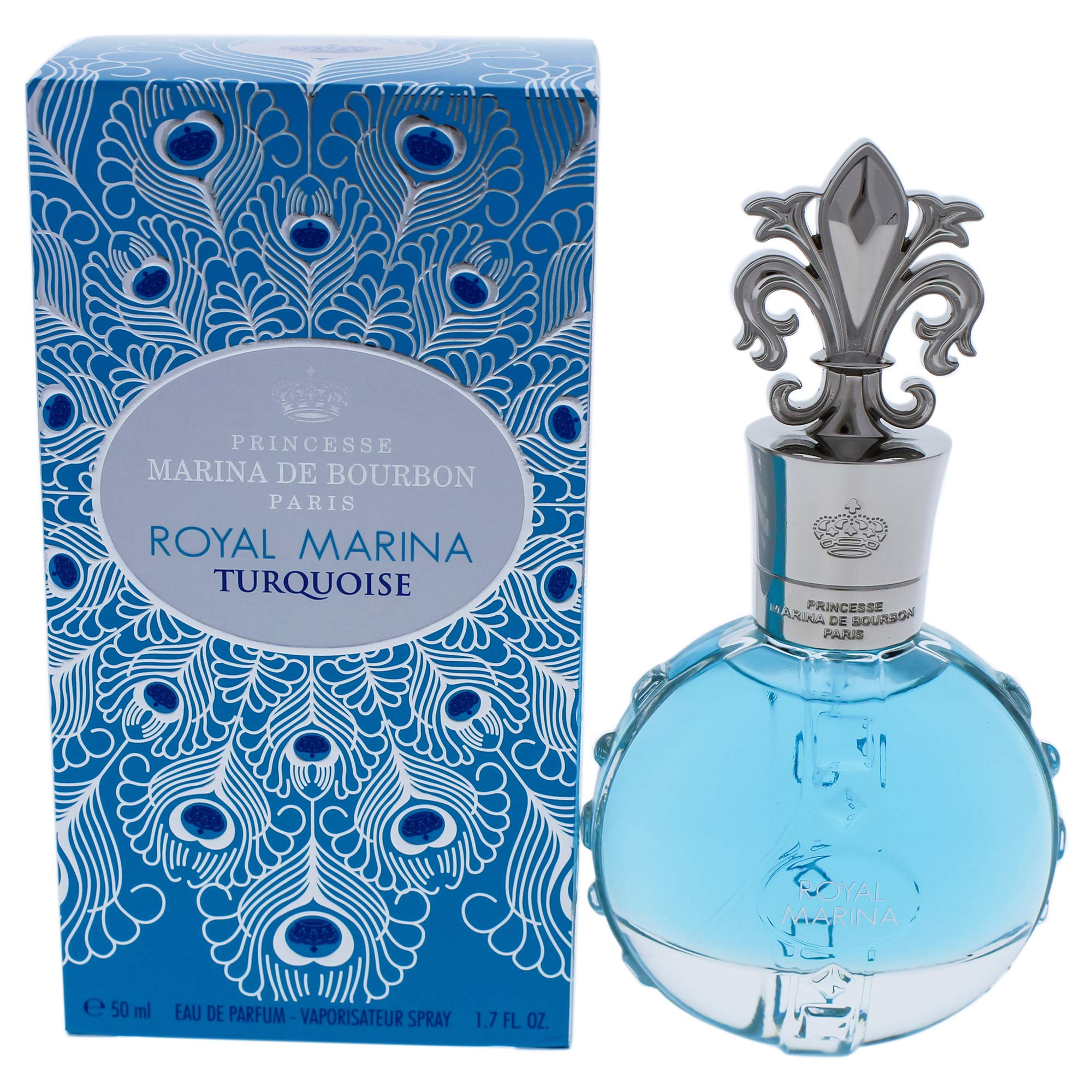 Royal Marina Turquoise by Princesse Marina de Bourbon | Eau de Parfum Spray | Fragrance for Women | Fresh Floral Scent with Notes of Green Apple and Lily of the Valley | 50 mL / 1.7 fl oz by Marina de Bourbon