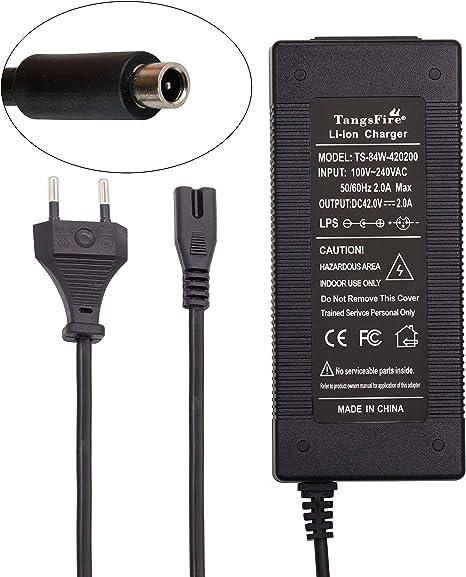 TangsFire Cargador de Batería Bicicleta 36V, Cargador 42V 2A para Conector RCA para Bicicleta Eléctrica (RCA 8MM para M365): Amazon.es: Deportes y aire libre