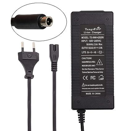 TangsFire Cargador de Batería Bicicleta 36V, Cargador 42V 2A para Conector RCA para Bicicleta Eléctrica (RCA 8MM para M365)