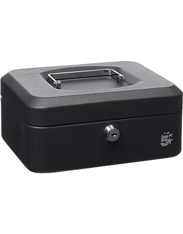 Cassetta di sicurezza per banconote e monete con serratura e 2 chiavi 15,2 cm Nero T/&B