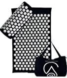 Acupressure Mat - Eco Cotton Acupuncture Massage Mat with Original Yoga Lotus Spikes by Wellness Collections. Prana Pillow for Neck/Sciatic Pain and Stress Relief - Travel Bag Included