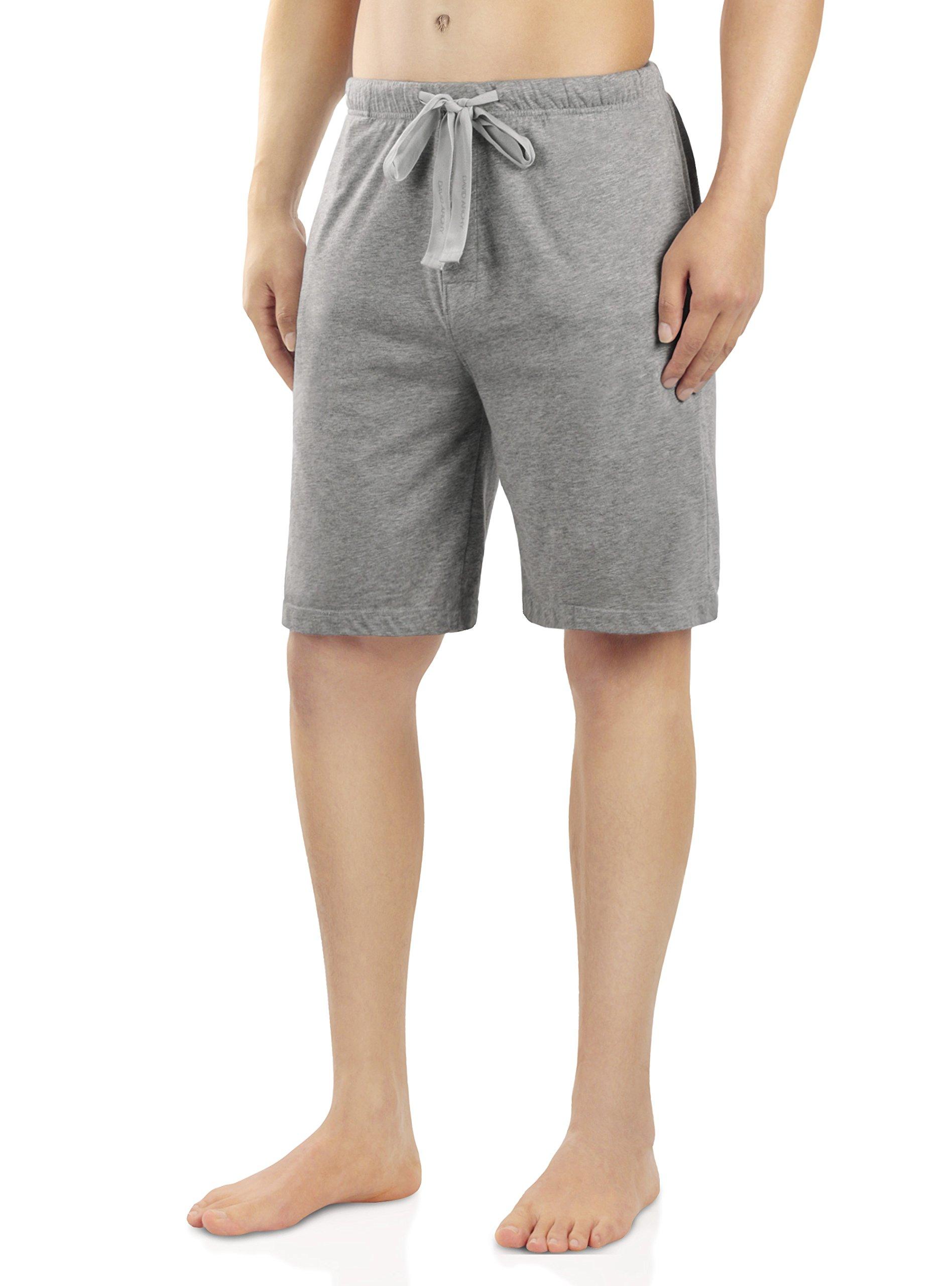 David Archy Men's Soft Comfy Cotton Sleep Short Lounge Short Pants (Heather Dark Gray, L) by David Archy