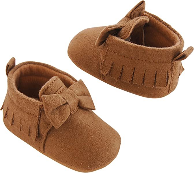 Carters Baby Girl Soft Sole Moccasin, Tan, 9-12 Months Crib Shoe,