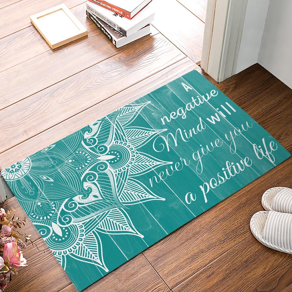 FAMILYDECOR Doormat for Entrance Way Indoor Bathroom Front Door Area Floor Mat Rugs Rubber Non Slip Absorb Kitchen Runner Carpet, Teal Mandala Wooden Board Pattern with Life Quotes 30 x18