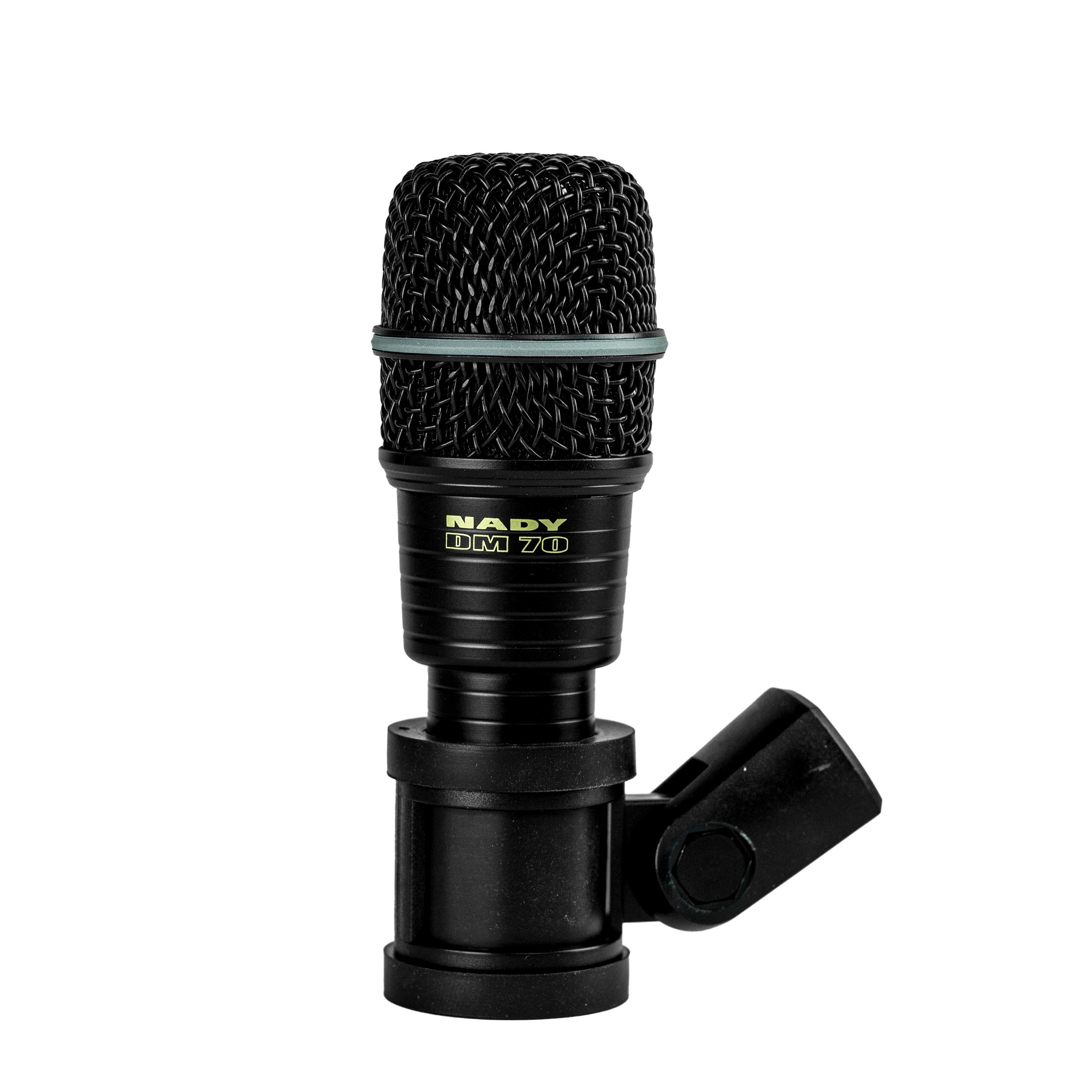 Nady DM-70 Drum Microphone - Cardioid Pattern, Neodymium Element, All-Metal Construction and Rubber Mount to minimize Vibration by Nady