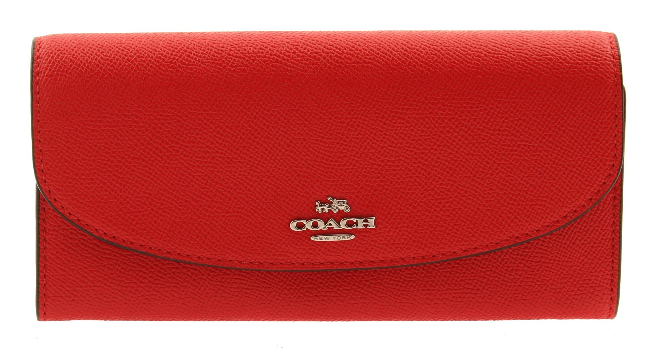 COACH Crossgrain Leather Slim Envelope Wallet (Bright Red)
