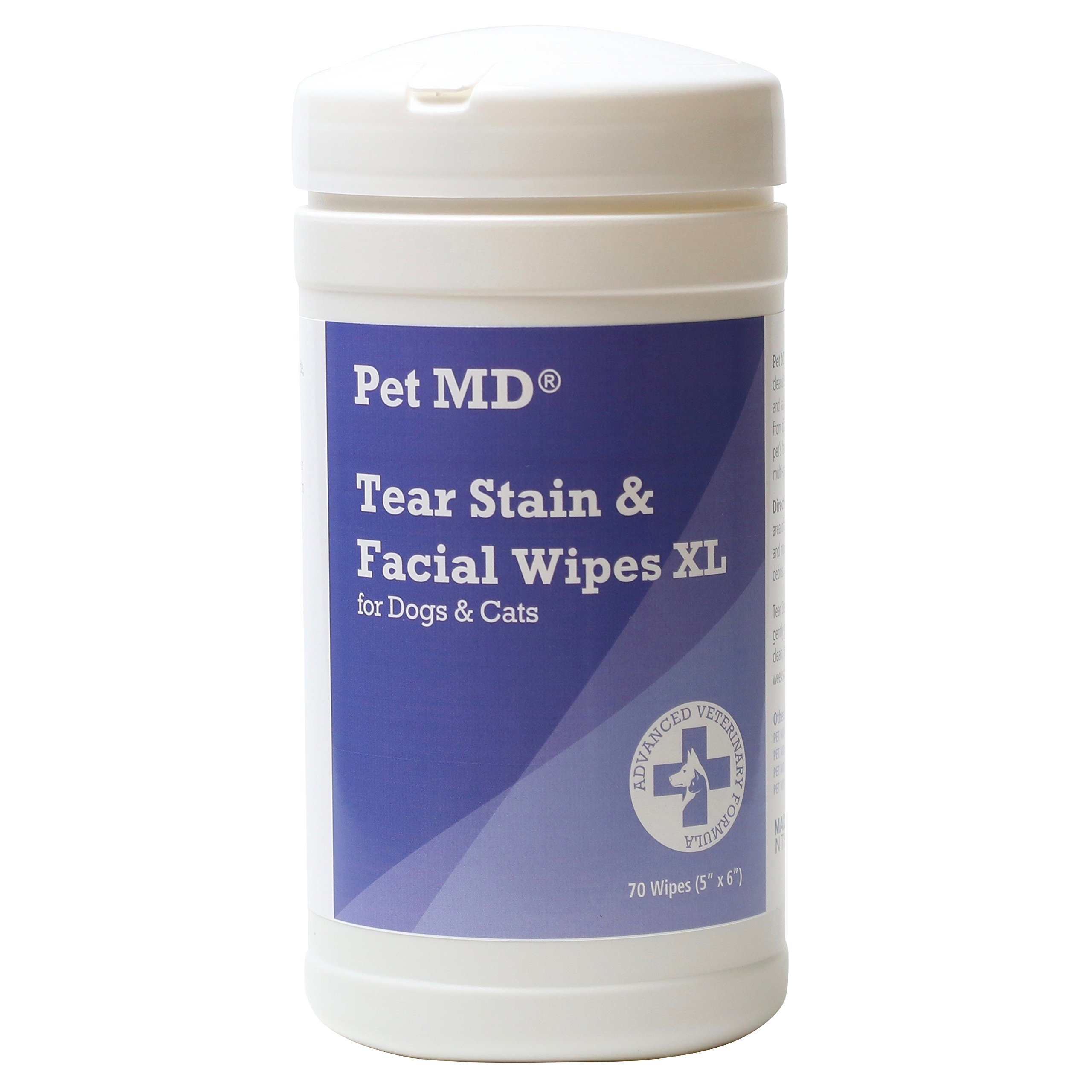Pet MD Tear Stain Remover Facial and Eye Wipes for Dogs and Cats - Removes Crust, Mucus Tear and Saliva Stains - 70 XL Wipes