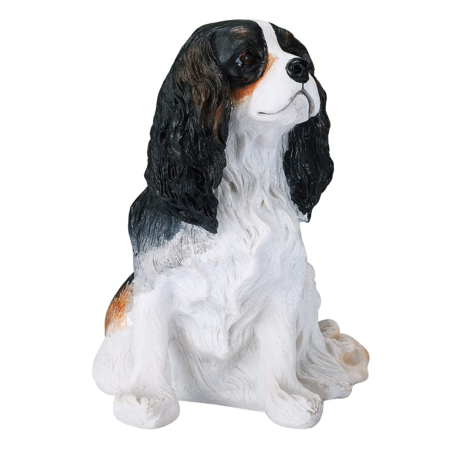 Chapman Sculptures Cavalier King Charles Spaniel Solid Hand Painted Dog Statue 5.6 Tri Color