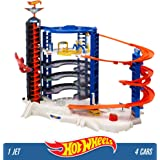 Mattel Hot Wheels FDF25 City Toy Garage, Connectable Play Set with 4 Diecast and Mini Toy Cars