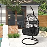 LEISU Hanging Swing Egg Chair with Cushions and Stand, Indoor/Outdoor Wicker Rattan Patio Basket Chair UV Protection Swing Ch
