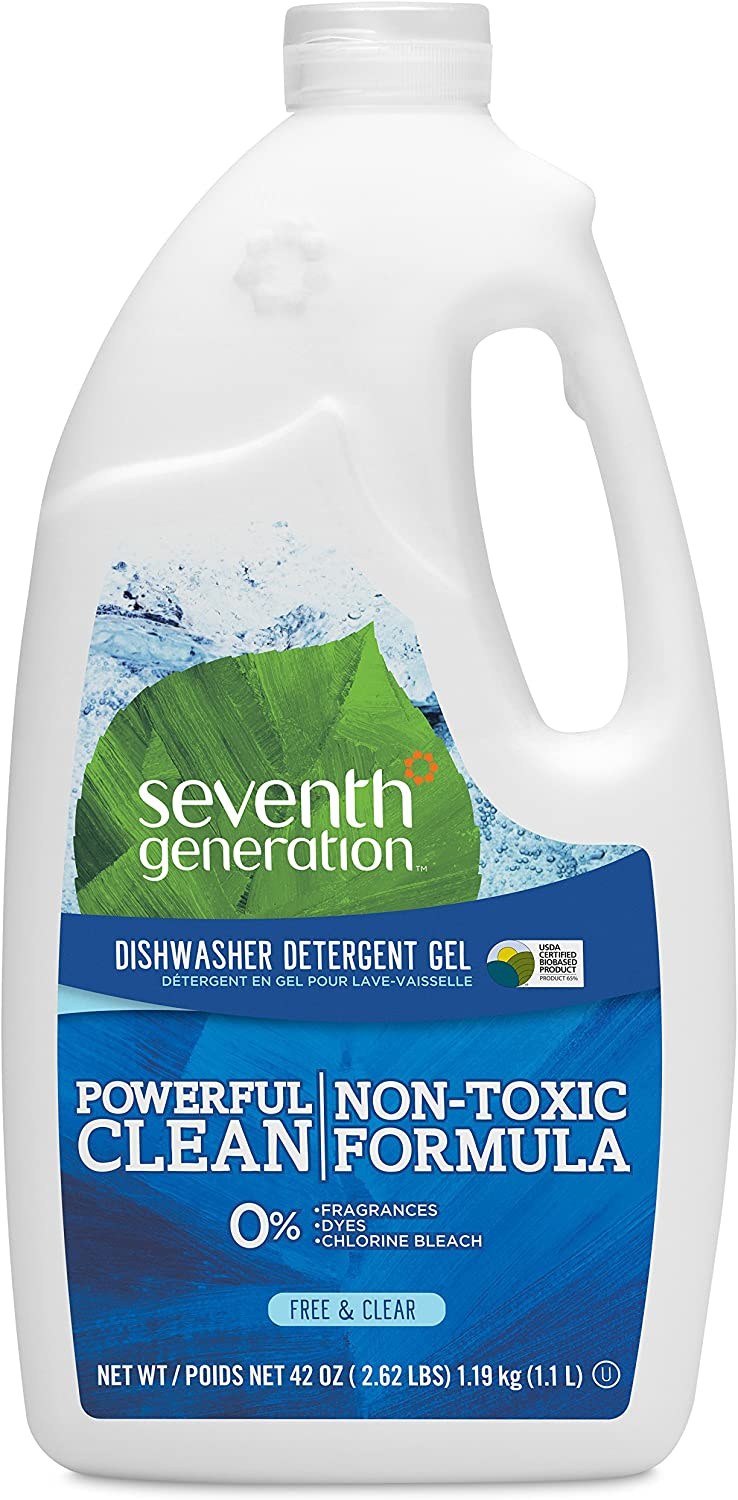 Seventh Generation Dishwasher Detergent Gel Soap, Free & Clear, 42 oz, Pack of 6 (Packaging May Vary)