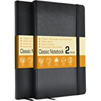 Ruled Hardcover Notebook Journal,Classic Notebooks, Elastic Closure with Pocket, A5 Size,Total 480 Pages Premium Acid Free Paper,Pack of 2
