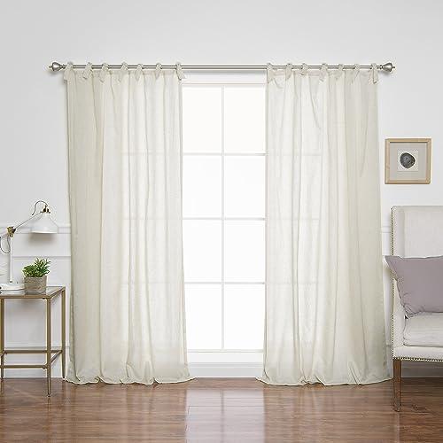 Best Home Fashion Faux Linen Romantic Tie Top Curtains – Tie Top – Natural – 52 W x 84 L Set of 2 Panels