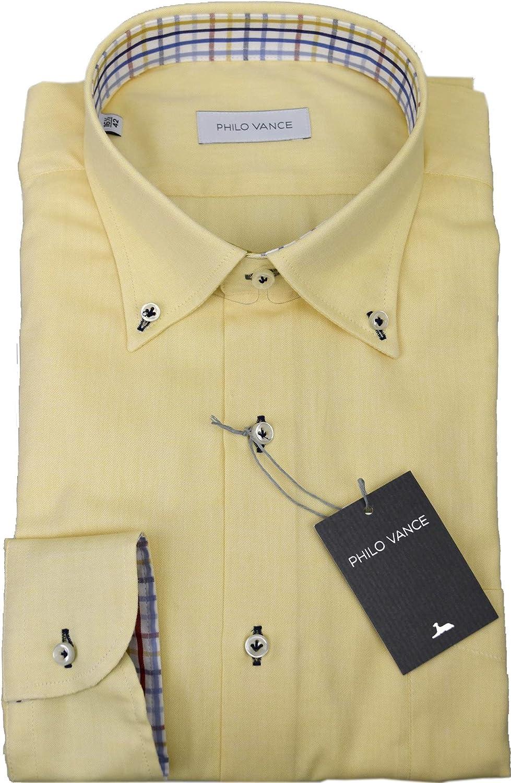 Philo Vance Camisa Amarilla Oxford Gata Botón-Abajo Pizarra ...