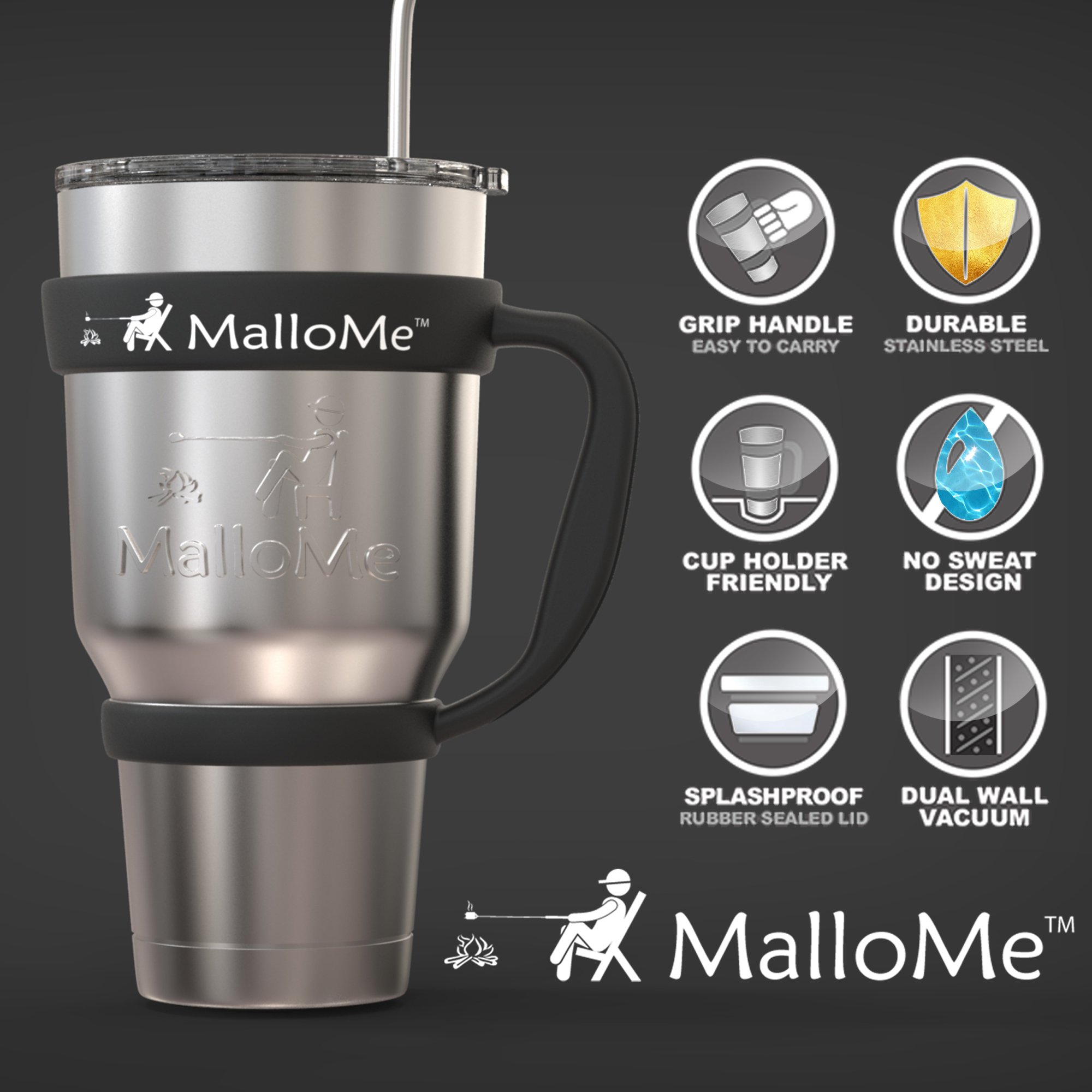 MalloMe Stainless Steel Vacuum Insulated 30 oz Water & Coffee Cup Tumbler Travel Mug, 6 Piece Set by MalloMe (Image #5)