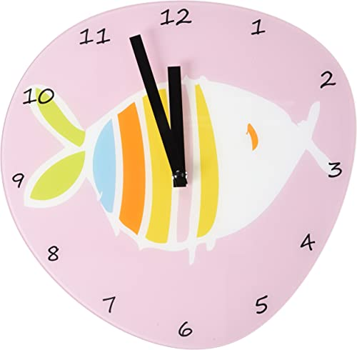 Refelx Non-Ticking Silent Acrylic Wall Clock, Large, Fish Pebble Shape, Pink