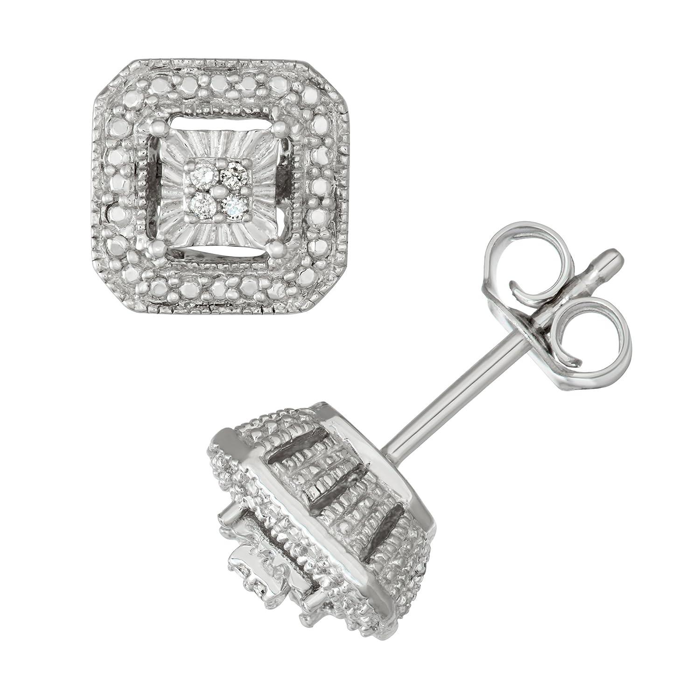 Sterling Silver White Diamond Square Shape Stud Earrings