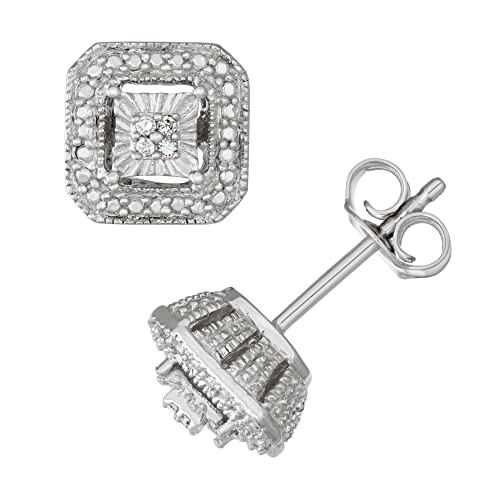 Sterling Silver White Diamond Solitaire Look Stud Earrings