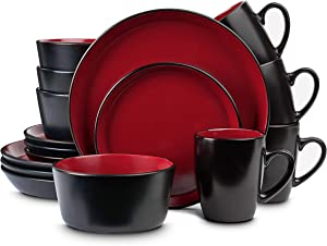 Stone Lain Stoneware Dinnerware Set, Service For 4, Red and Black