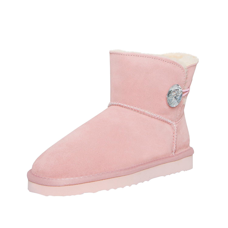SKUTARI Wildleder Damen Winter Stiefel     Warm Gefüttert   Schlupf-Stiefel mit Stabile Sohle   Bling Diamant Pailletten Knopf Schuhe 6ff4ac